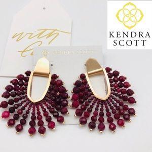 NWT Kendra Scott Diane Beaded Maroon Jade Earrings